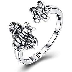 SODIAL Anillo abeja linda plata esterlina 925 brillante anillo de flores de margarita abierta para mujeres ninas