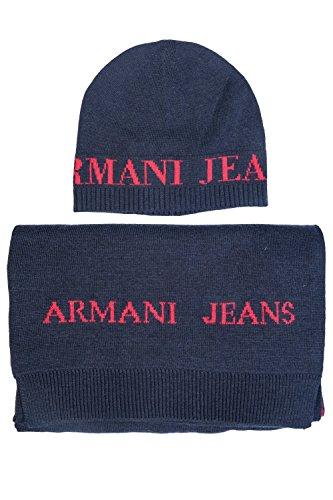 ARMANI JEANS AJ NEU HERREN Mütze mit Schal blau schwarz grau men scarf Halstuch Tuch Hut Dunkelblau/Rot S (54-55) (Jeans Denim Tuch, Herren)