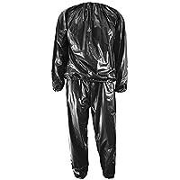 Erduo Heavy Duty Sweat Sauna Suit Anti-Rip Entrenamiento Fitness Pérdida de Peso Ropa para Adelgazar Color sólido Ejercicio Deportivo Gym Suit - Negro
