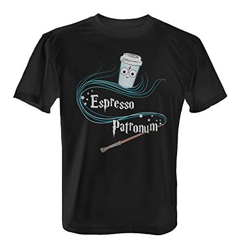 Fashionalarm Herren T-Shirt - Espresso Patronum | Kaffee Fun Shirt für Fans von H. Potter Buch & Film Schwarz