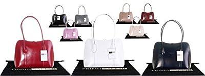 Primo Sacchi® Italian Smooth Leather Hand Made Classic Style Long Handled Handbag Tote Grab Bag or Shoulder Bag. Includes a Branded Protective Storage Bag