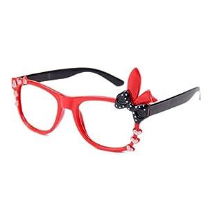 Juleya Kinder Bunny Herz Bogen Gläser Rahmen – Kinder Brillen Geek/Nerd Retro Reading Eyewear Keine Objektive für Mädchen