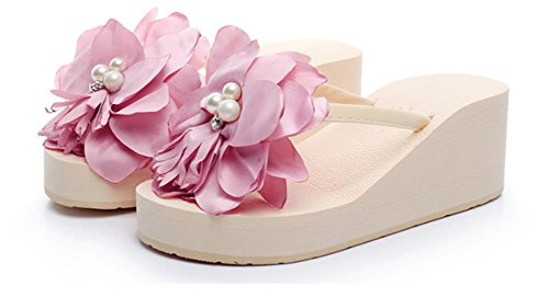 pengweiLadies Summer Flowers Beach scarpe pattini a spina di pesce ad alti talloni e piedini freschi ispessiti a piedini freddi 4