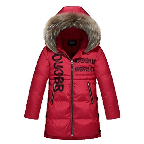 Ohmais Unisex Jungen Mädchen Winter Down Jacket verdickte Winterjacke Jungen Mantel verdickte Trenchcoat Jungen Outerwear Rot