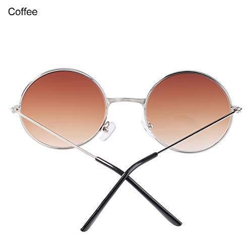 Gafas de Sol Unisex polarizadas de la Marca Bruselas08 con Lentes Redondas de Punk, Gafas de Sol para Deportes al Aire Libre, Regalo para Hombres y Mujeres, café