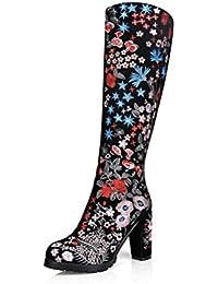 QPYC Señoras botas de tacón alto bordado flor cruda talón molino de arena Cilindro de alta rodilla Botas Negro , black , 39