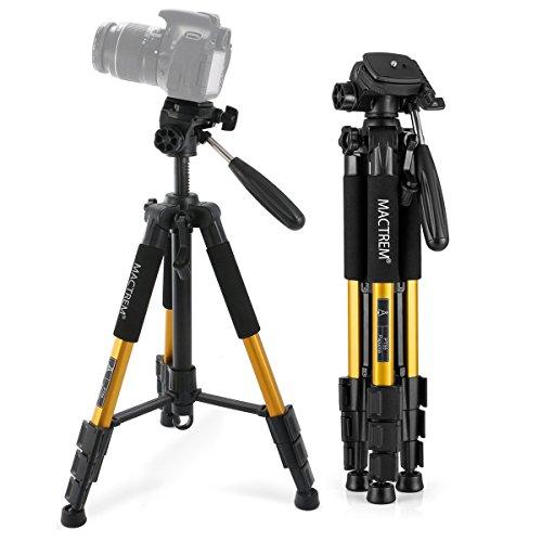 Dreibein-Kamera Stativ aus Aluminium MACTREM PT55 55Zoll mit Schnellwechselplatte und Tragetasche für Spiegelreflex- und Videokameras von Nikon, Sony uvm (Gelb)