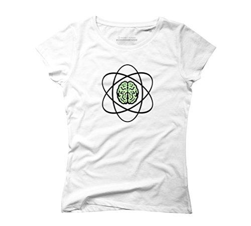 Atomic Nucleus Brain Women's 2X-Large White Graphic T-Shirt - Design By Humans