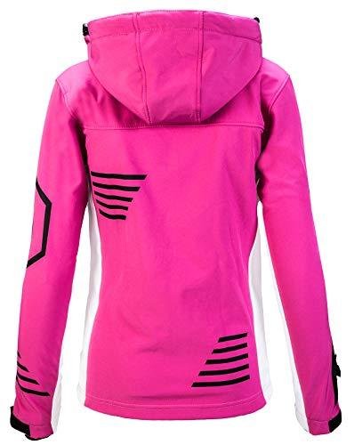 Rock Creek Damen Softshell Jacke Windbreaker Regenjacke Übergangsjacke Softshelljacke Damenjacke Regenmantel Outdoorjacke Kapuze D-402 Pink XS - 3