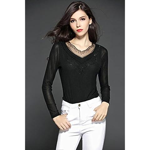 MYM parte europea del grandi cantieri selvatici camicia della protezione femminile delle donne di inverno camicia a maniche lunghe era sottile perline garza T-shirt , black , xxl