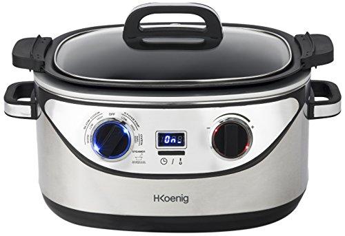 H.KOENIG SLCOOK30 Mulifunktions Slow Cooker/Kochfunktion / 7 vorprogrammierte Funktionen / 60°C bis 220°C / 5.6 L / 1350 W/silber, 5.6 liters, grau/schwarz