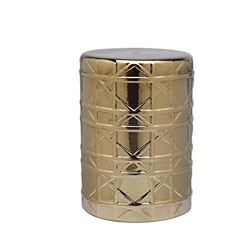 Unbekannt Health UK Accessories- Hocker Grid Goldfolie Keramik Trommel Hocker Luxus Startseite Modell Zimmer Keramik Kunst Hocker Hotel Porzellan Hocker Welcome (Farbe : Gold) (Keramik-trommel)