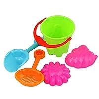 Brussels08 5Pcs Durable Outdoor Sandbeach Toys Toddler Kids Children Beach Sand Toys Set including Bucket, Shovel, Rake, Soft Sand Molds