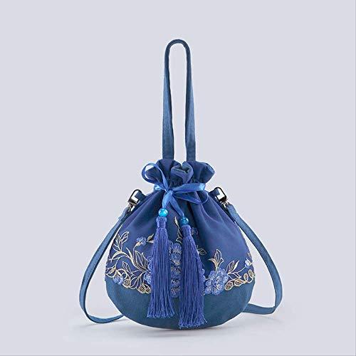 AFHYLW Chinesischen Stil Hanfu Tasche Umhängetasche kleine Tasche Zubehör weiblich passenden Kostüm Beutel Tasche Schulter Retro Wind Leinwand - Schüler Kostüm Muster