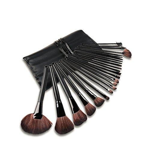 SunJas - Kit de 24 brochas de maquillaje profesional con mango de madera y bolsa enrollada, negro