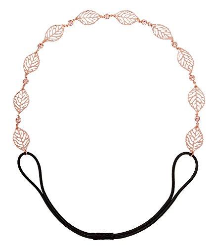 SIX Haarschmuck, elastisches Haarband, Kopfkette, aus Metall-Blättern, roségold mit Strass (252-860)