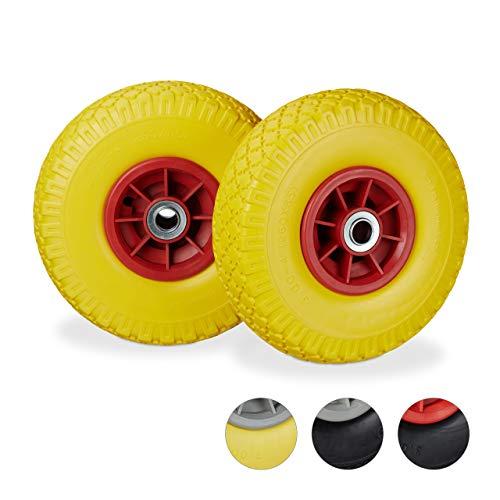 Relaxdays 2X Sackkarrenrad, pannensichere Vollgummireifen, 3.00-4 Zoll, 20mm Achse, bis 150 kg, 260 x 85 mm, gelb-rot (26 Zoll-räder-felgen)
