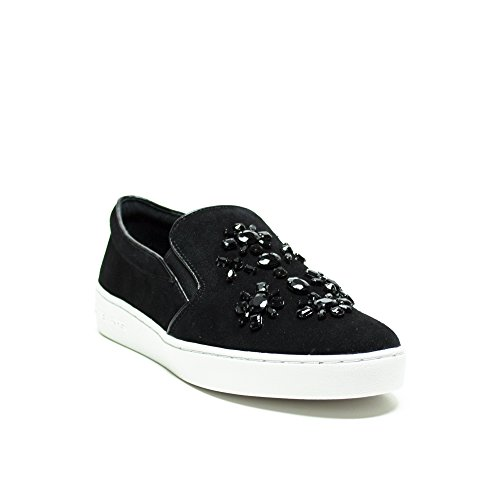 Slip On Michael Kors Keaton in velluto nero con accessori fiore Noir