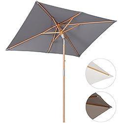 Sekey® sombrilla parasol de madera para terraza jardín playa piscina patio 200 × 150 cm gris rectángulo protector solar UV50+
