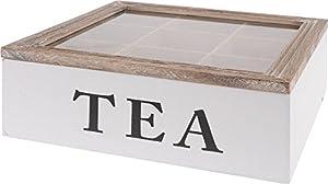 Boîte à thé bois Boîte à thé 9compartiments Couvercle en verre Boîte à thé à thé en Récipient 24x 24x 8cm