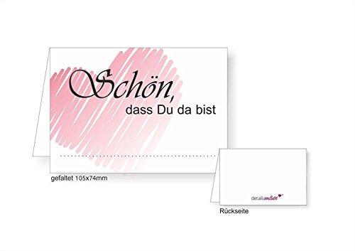 40 Tischkarten I dv_072 I DIN A7 I Platz-Karten Namens-Kärtchen Sitzplatz-Karten rosa Aufsteller quer zum Beschriften für Geburtstag Hochzeit Taufe (Platz-karten-vorlagen)