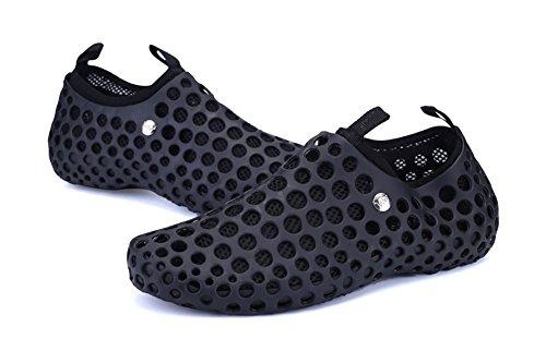 Superleichte Wassersportschuhe Liebspaar Zweiteilige Crocs Strandschuhe Schnelltrockende Wasserschuhe Badeschuhe für Damen und Herren Schwarz