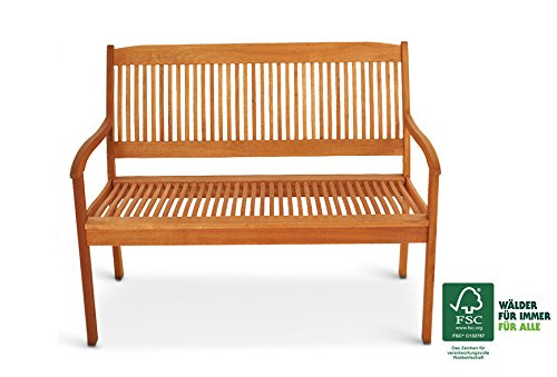 SAM Gartenbank France, 117 cm, 2-Sitzer Bank, Akazienholz geölt, FSC zertifiziert
