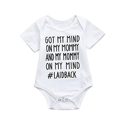 Kinderbekleidung,Honestyi Nette neugeborene Kinder Baby Brief Print Jungen Mädchen Outfits Kleidung Strampler Overall (70,Weiß)