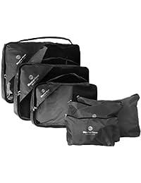 MasterGear - Sac / housse à vêtements - lot de 6 pièces - sac de voyage pour valise - 3 sacs de rangement / compartiment + sac à linge, sac à chaussures, trousse à maquillage - Noir