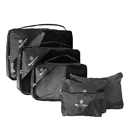 MasterGear Kleidertaschen Set in schwarz , 6-teiliges Reisetasche Set für Koffer , Packing Cubes , 3 Aufbewahrungstaschen + Wäsche-, Schuh-, Kosmetikbeutel , Paktaschen , Packwürfel