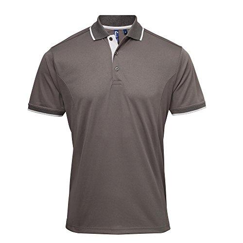 Premier Herren Kontrast Coolchecker Polo Shirt (L) (Dunkelgrau/Silber) (Premier Akzent)