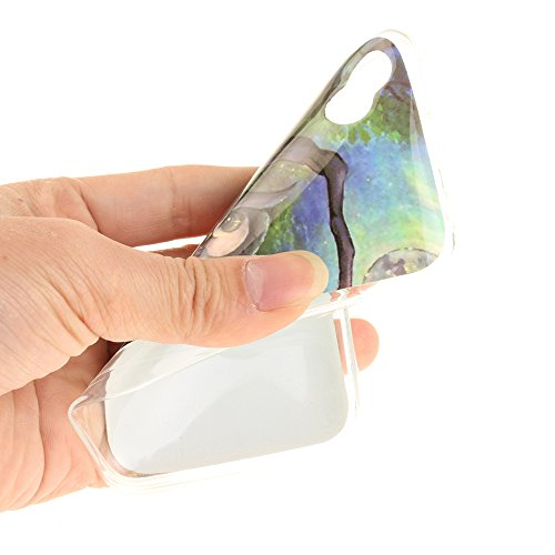 Wiko Sunny hülle,MCHSHOP Ultra Slim Skin Gel TPU hülle weiche Silicone Silikon Schutzhülle Case für Wiko Sunny - 1 Kostenlose Stylus (Weiße große Blume) Malerei Eule