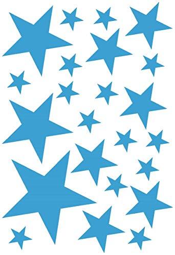plot4u Wandtattoo Sterne Set 'gefüllt' 14x2,5cm6x5cm2x7,5cm1x10cm lichtblau (14 Wand-aufkleber)