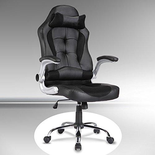 Computer-stühle Mit Armlehnen (UEnjoy Gaming Stuhl Racing Stuhl Leder Bürostuhl Chefsessel Schreibtischstuhl mit Armlehnen & Höhenverstellung & Wippfunktion & Kopfkissen Schwarz)