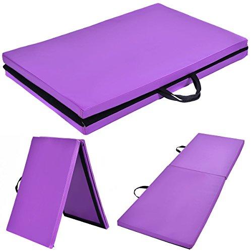 COSTWAY Weichbodenmatte Gymnastikmatte Yogamatte Klappmatte Turnmatte Fitnessmatte 2 Fach klappbar 180x60x4cm (Lila)