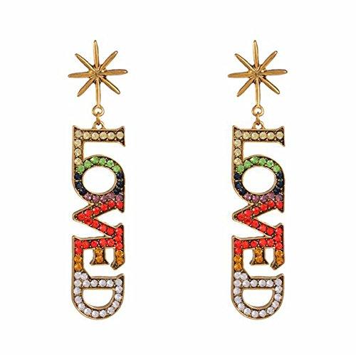 GDDQSDC Tropfen Ohrringe, Fashion Brief Mosaik Diamant Ohrring Übertreibung Legierung Lange Piercing Anhänger Ohrringe Elegante Ohrringe Frauen Feinen Schmuck