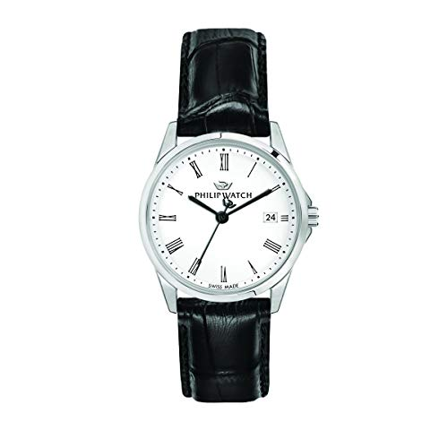 Philip Watch Women's Watch, Capetown Collection, Quartz Movement and Three Hands Version with Date, Equipped with a Croco Leather Strap - R8251212501