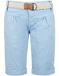 712b44cfec9b Fresh Made Damen Bermuda-Shorts in Pastellfarben mit Flecht-Gürtel   Elegante  Kurze Hose