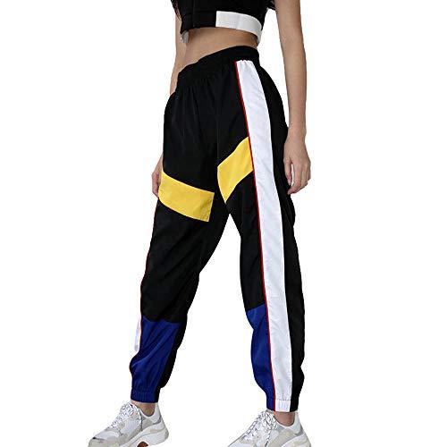 Oeak Damen Sporthose Kontrastfarbe Cargo Hose Sport Outdoor Jogger Hosen Casual Lange Freizeithosen Hip Hop Hose Sweatpants