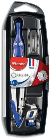 Maped - Coffret Compas Origin 3 Pièces - Fabrication Française - Compas Scolaire Mine + Bague Universelle + Ét