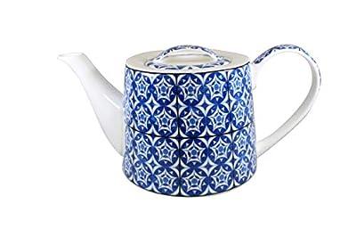 Jameson & Tailor théière en porcelaine avec couvercle Bleu/blanc Moderne Cafetiè