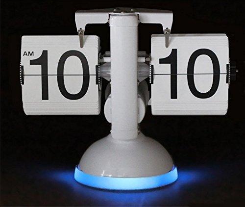 KABB Retro Tischuhr Flip Clock Uhr mit Sprachsteuerung und Nachtlicht für Zuhause Büro Wohnzimmer (Weiß und blau)