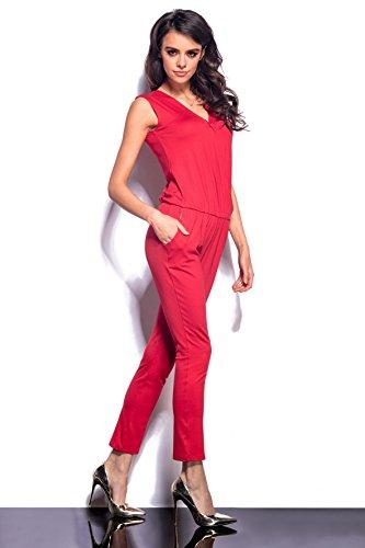 Lemoniade eleganter Jumpsuit ohne Ärmel mit verführerischem V-Ausschnitt in Wickeloptik Rot