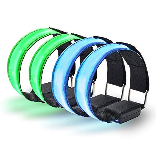 Yizhet 4 Piezas Brazalete Reflectante Brazalete LED con luz de Seguridad LED y Correa Reflectante Luz Brillante para Hacer Jogging y luz de Seguridad para Deportes de Exterior, Azul y Verde