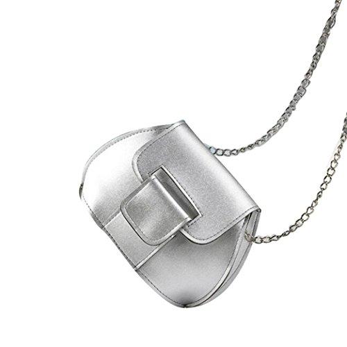 Saingace Art- und Weisefrauen-lederner Kettenhandtaschen-Kreuz-Körper-einzelne Schulter-Telefon-Münzen-Beutel Handtaschen Schultertasche Silber
