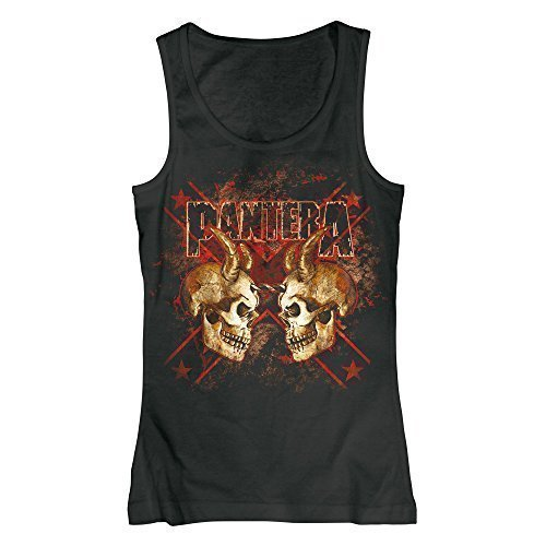 PANTERA - DOUBLE SKULL - OFFICIAL WOMENS VEST - cotone, Nero, 100% cotone, Donna, Large