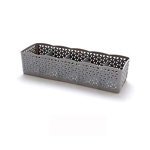 Aufbewahrungsbox Kleinteile Cosmetic Storage Box 5 Cells Plastic Organizer Storage Box Tie Bra Socks Drawer(Grau,free) -