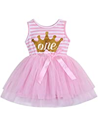 254c56ec03 Newborn Baby Girls 1st Birthday Dress One Print Striped Top Tulle Dress  Tutu Outfits Clothes (9-12 Months,…