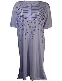 Damen Nachthemd halbarm mit Streifen und Blumen in 6 verschiedenen Farben