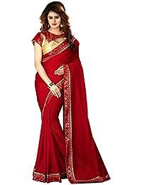 Greenvilla Designs Red Chiffon Bollywood Saree With Blouse